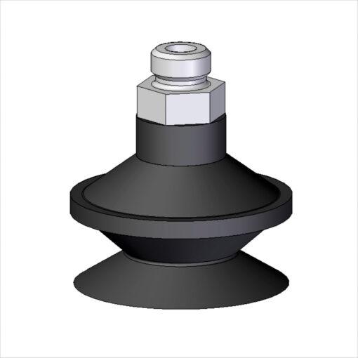 ventosa dupla ø46x37mm(com espigão) metálicos e usináveis aluminio borracha e vulcanizados borracha
