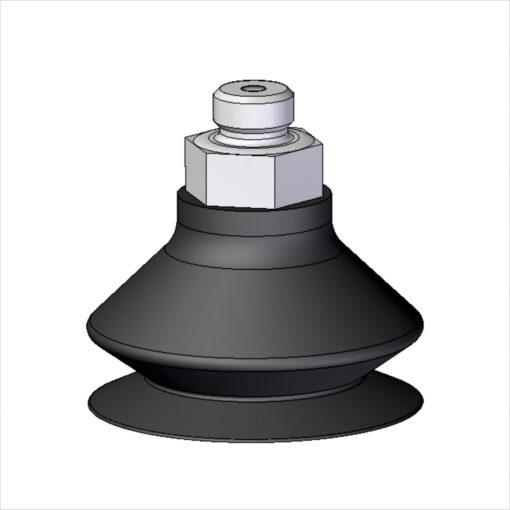 ventosa dupla ø55x35mm (furo ø7mm) com espigão metálicos e usináveis aluminio borracha e vulcanizados borracha